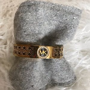 Michael Kors Monogram Gold Tone Hinged Bangle